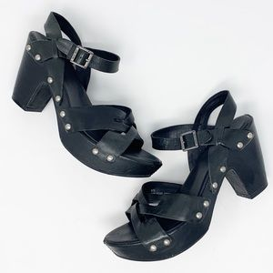 Kork Ease Deborah Criss Cross Open Black Sandals